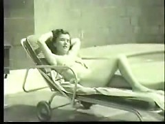 Amazing retro beach action with vintage hottie going all nude