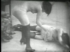 Vintage stag film with ladies in lingerie playfully posing and grabbing