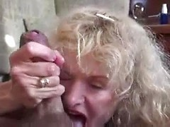Horny retro slut jerks huge cock till it bursts with hot cum on tits