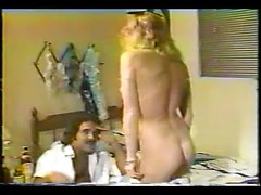 Best vintage porn session with wild blonde MILF passionately riding big hard cock