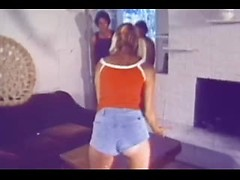 Beautiful retro blonde in pigtails gets double teamed and DPed by two guys